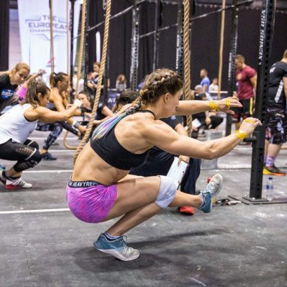 Hair James working her Merbraids at the European Crossfit championships - ropes