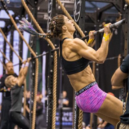 Hair James working her Merbraids at the European Crossfit championships - pull ups